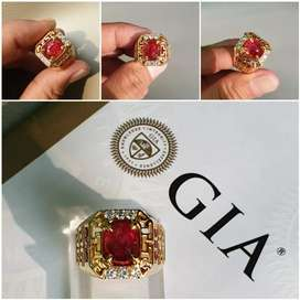 GIA Certified Red Blood Pigeon,NH 3.10 Ct RUBY With GD Ring size 21