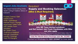 Required Supply- Booking Salesman living in Different Areas of Karachi