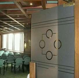 Branding stiker sanblas&kaca film memperindah kaca sekeliling kantor