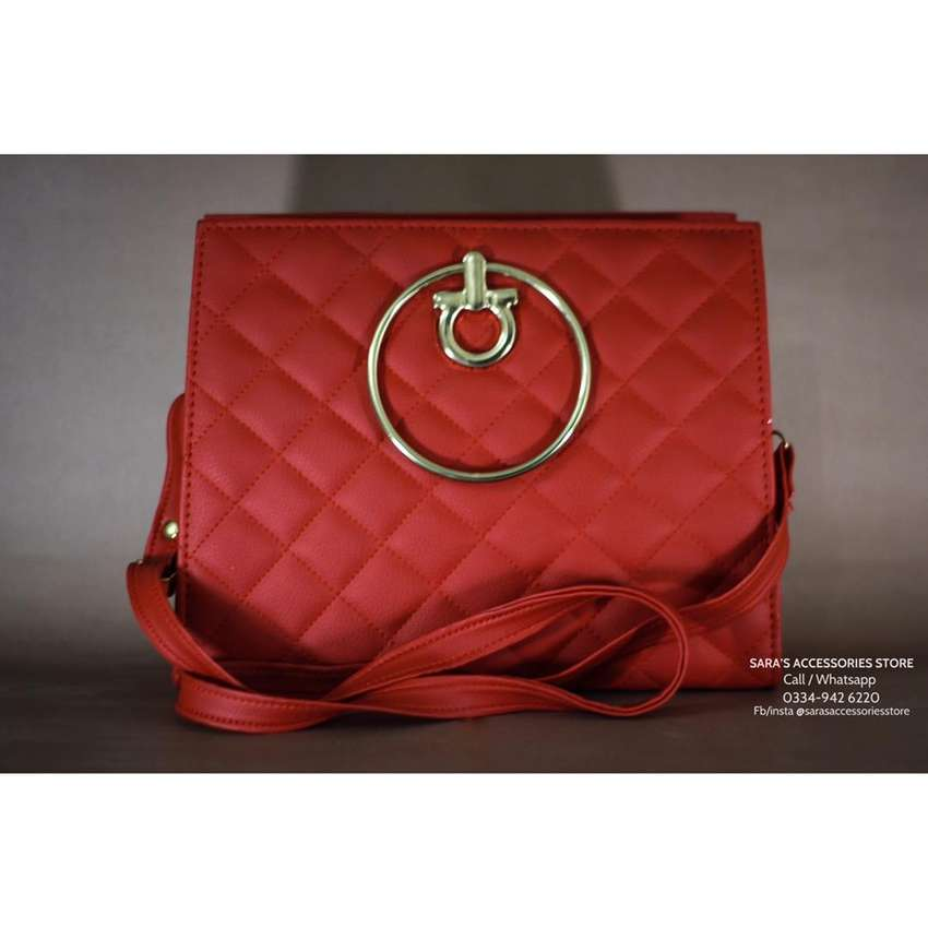 Handbag & Shoulder Bag In Red Colour By Sara's Accessories Store 0