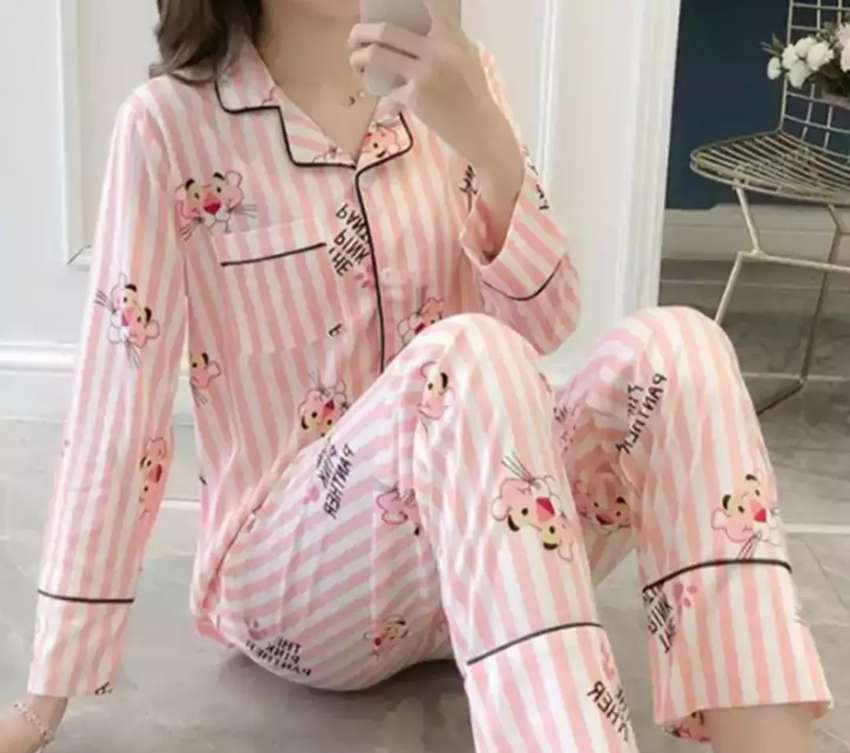 Girls Night Suit 2020 imported New Long Slevees shirt with pajamas 0