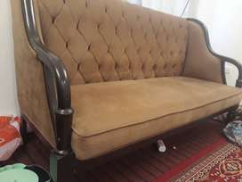 5 seater sofa along with 3×3  feet table pure wooden based