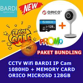 CCTV Wifi BARDI IP Cam 1080HD + MEMORY CARD ORICO MICROSD 128GB HEMAT