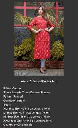 Women's Printed Cotton Kurti Fabric: Cotton Sleeve Length: Three-Quart