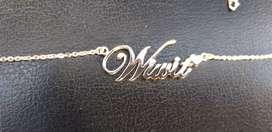 Sale ramadhan kalung nama perak925 lapis emas putih