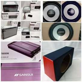 Full set sansui head unit power subwoofer box Baru