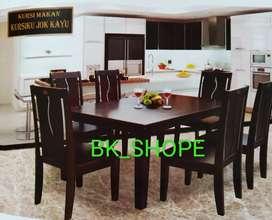 Meja Makan kokoh dan Kuat Lengkap kursi 6 person - dudukan kayu
