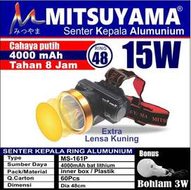 Senter Kepala Led Kecil Recharge Led Head Lamp 15W Mitsuyama MS-161P