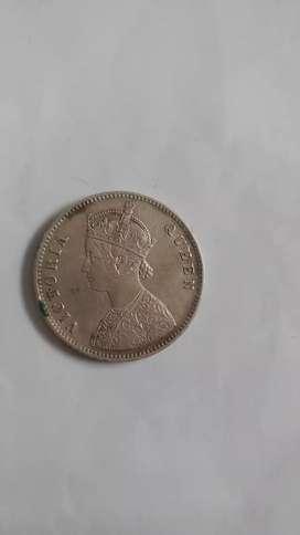 silver 1 rupee coin 1862