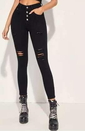 Shein,  brand new black distressed skinny jeans.