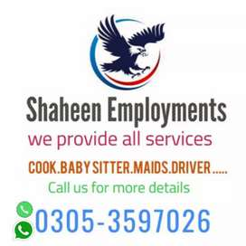 """Shaheen Employment's """"R"""" Avail Cook Maid Driver Baby sitter  24/7"""