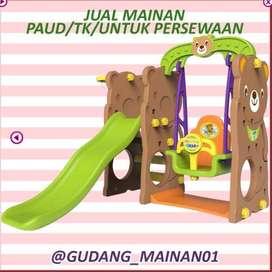 Ready Stok Surabaya ReadyUnit Bear Slide With Swing Perosotan + Ayunan