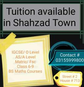 Tuition available in Shahzad Town