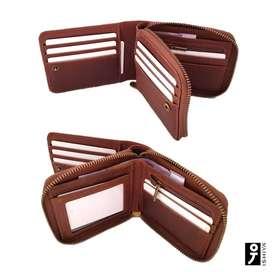 Dompet kulit pria pendek Zipper Leather dg Card Holder (BISAREKBER)