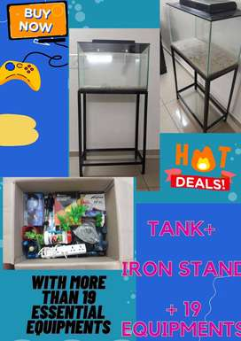 Aquarium with 19 equiptments and iron stand