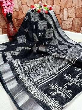 ikkat linen saree with blouse