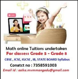 MATH ONLINE TUITIONS for Grade 5 to Grade 8