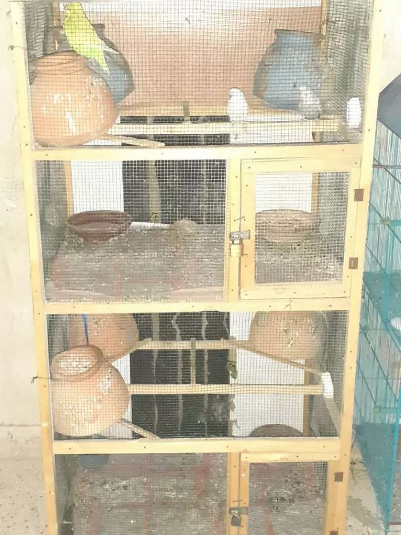 Wooden cage with handiya 0