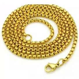Kalung Titanium Holo Model Bulat Bulat Gold