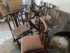 6 chairs and two tables.