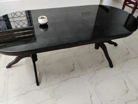 wooden dining table 8 seater glass top