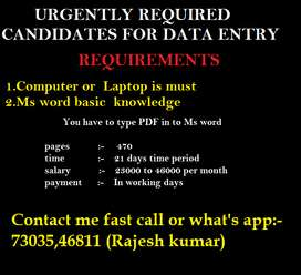 Home based Data Entry Jobs online and offline