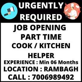 Job Opening for Cook / Kitchen Helper