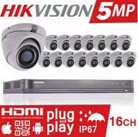 Paket lengkap 16 kamera cctv Hikvision 5Mp Gratis pasang terima beres
