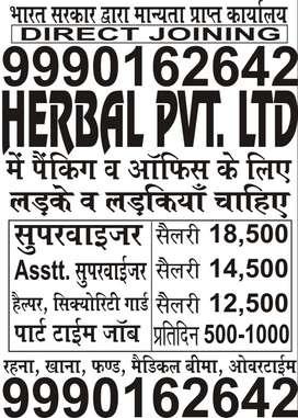 REQUIREMENT OF SUPERVISOR JOBS IN HERBAL LTD