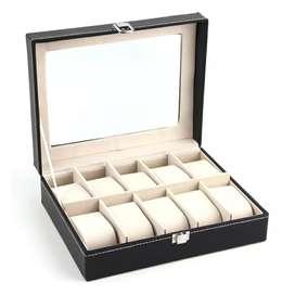 LISM Kotak Jam Tangan Luxury 10 Slot - Z-0003 - Black