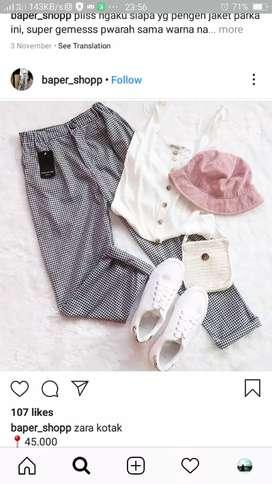 Celana monochrome beli di sora** shop