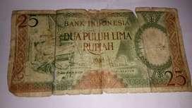 Jual uang kuno pecahan Rp,25;