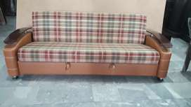 Sofa cum bed with wooden arm for small space