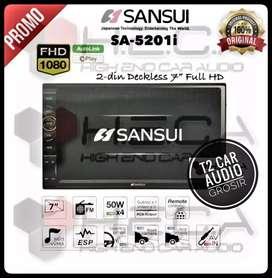 Hot promo 2din SANSUI JAPAN android link 7inc+camera hd mumer gan