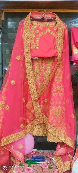 Heavy work lahenga blouse with long chunni
