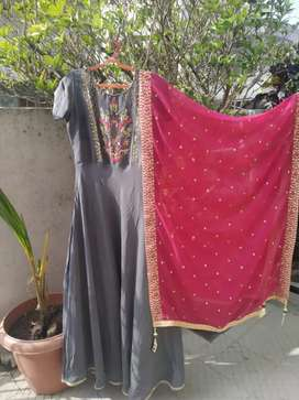 Floor length gown with heavy duppata