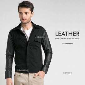 Jaket Kulit Le Min Ho Comby Leather & Drill | Crowsdenim SK-80