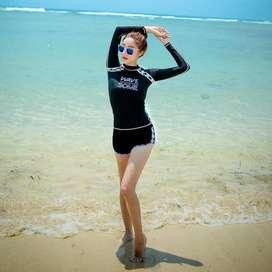 Baju Renang Lengan Panjang Wanita Muslim Bikini Set Korea Murah Bra