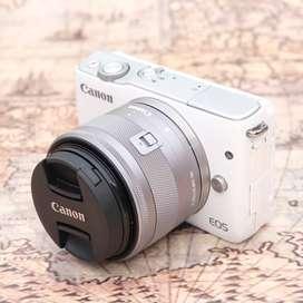 Canon M10 kit 15-45mm IS STM WHITE Fullset kode 1014F19