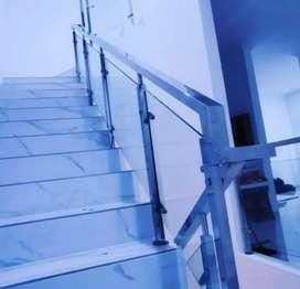 Railing tangga kaca stainless dan balkon kaca #1888