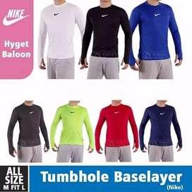 Nike Menset/Baselayer Warna komplit Lengan panjang Dengan tumbhole