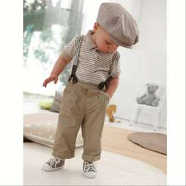 Boys Ring Bearer Outfit with Suspenders, Kids Indian Wear