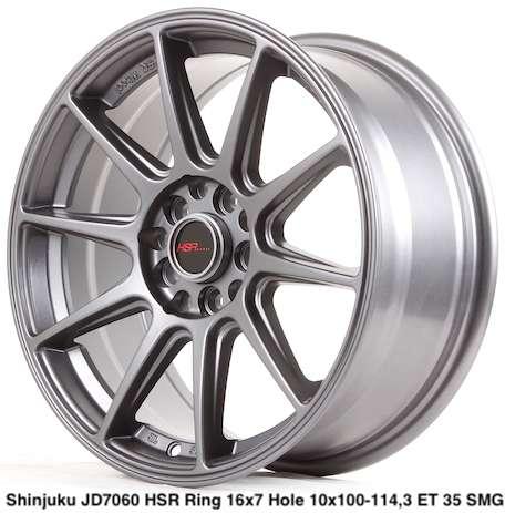 yang baru SHINJUKU JD7060 HSR R16X7 H10X100-114,3 ET35 SMG 0
