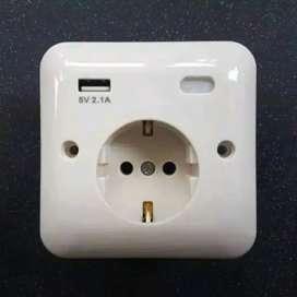Colokan Dinding USB Stop Kontak EU Wallplug Soket USB Port