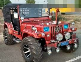 Modified red Willy jeep