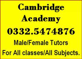 Get Tutors for 1 to 8th. 9th.10th.fsc.O & A level. Acca. Ielts English