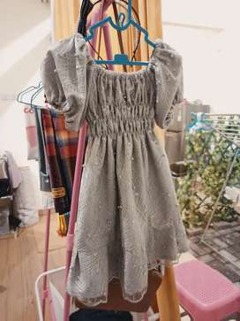 Dress Anak Brukat Abu