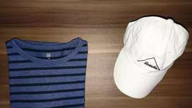 Kaos Lengan Panjang Uniqlo Long Sleeve Tees Dark Blue Striped Size S