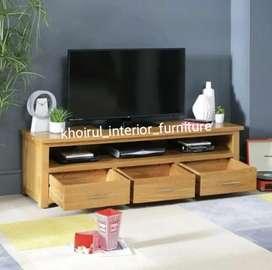 Furniture meja rak tv jati solid .