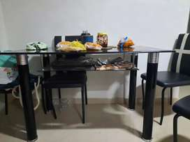 Black glass dining table set for 4